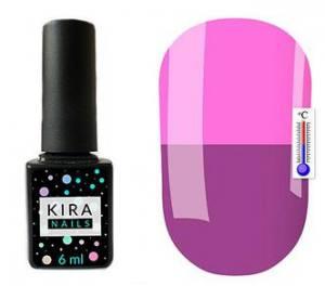 Термо гель-лак Kira Nails №T19 (фиолетовый, при нагревании приглушенный розовый), 6 мл