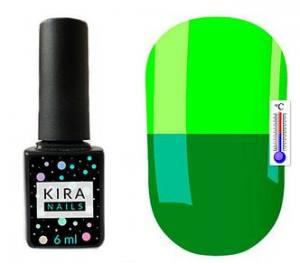 Термо гель-лак Kira Nails №T24 (травяной зеленый, при нагревании кислотный лаймовый), 6 мл