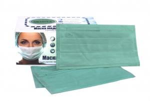 Маска для защиты органов дыхания зеленая трёхслойная