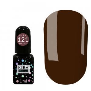 Гель-лак Kira Nails Mini №121(темно-шоколадный, эмаль), 1 мл