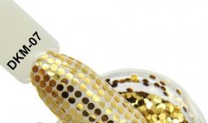 Диско конфетти для дизайна ногтей, голографические, DKM-07 золото
