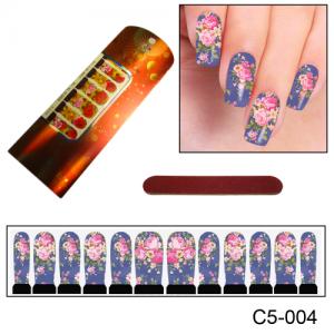 Узор из цветов для маникюра C5-004