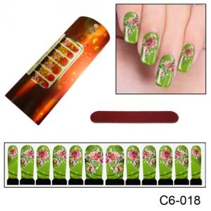 Фотодизайн для ногтей С6-018 роза на зеленом фоне