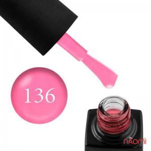 Гель-лак GO 136 неоново-розовый, с едва заметным перламутром, плотный, 5,8 мл