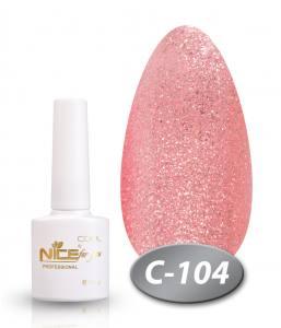 Гель-лак Nice серия cool C104 розовые блестки