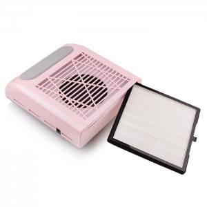 Вытяжка для маникюра SIMEI 858-8 с НЕРА фильтром, 80W - Розовая