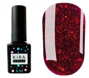 Гель-лак Kira Nails Shine Bright №011 (темно-красный с блестками), 6 мл