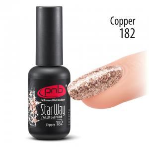 Гель-лак PNB Star Way, Copper 182, 8 мл медный, глиттерный (с блестками)