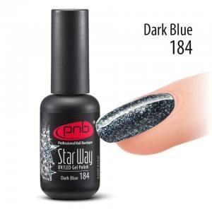 Гель-лак PNB Star Way Dark Blue 184, 8 мл темно-синий, глиттерный (с блестками)