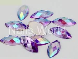 Стразы акриловые Nails World Marquise  Light Amethyst AB 20шт