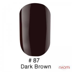 Гель-лак Naomi Gel Polish 87 - Dark Brown, 6 мл темный черно-коричневый.