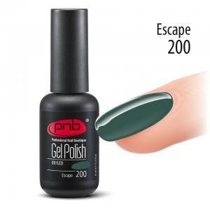 Гель-лак PNB 8 мл 200 Escape  (приглушенный бутылочный зеленый, эмаль)