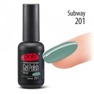 Гель-лак PNB 8 мл 201 Subway  (серо-оливковый, эмаль)