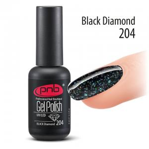 Гель-лак PNB Black Diamond 204, 8 ml черный гель-лак с глиттером