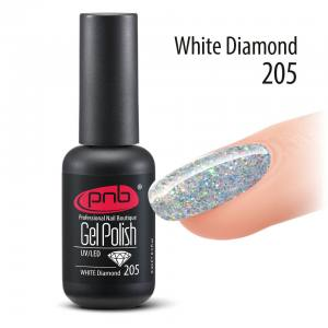 Гель-лак PNB White Diamond 205, 8 ml прозрачный гель-лак с глиттером
