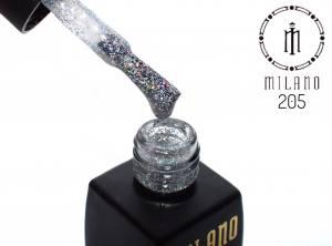 Гель лак MILANO 8мл 205 серебро с блеском хамелеон