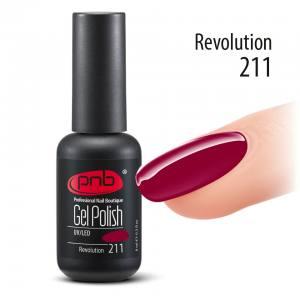 Гель-лак PNB Revolution 211, 8 ml темный красный