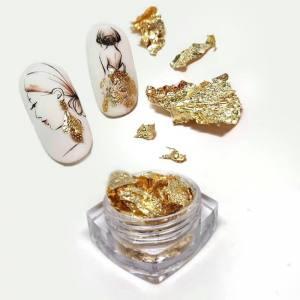 Фольга жатая в банке  Античное золото