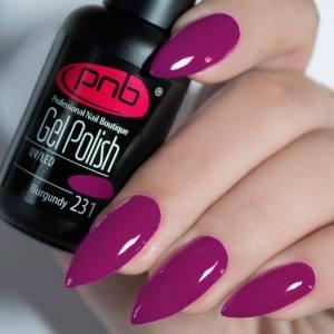 Гель-лак PNB Burgundy 231 розово-бордовый