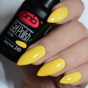 Гель-лак PNB Juicy Fruit 249 8мл, желто-горчичный