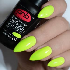 Гель-лак PNB Lemon Bang 251 холодный ярко-желтый, неоновый