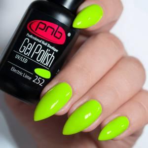 Гель-лак PNB Electric Lime 252 насыщенный салатовый, неоновый