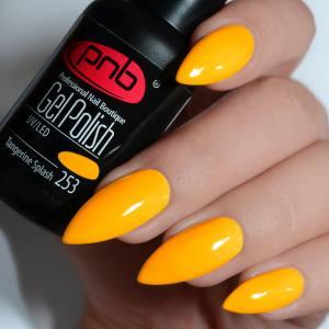 Гель-лак PNB Tangerine Splash 253 желто-оранжевый, неоновый
