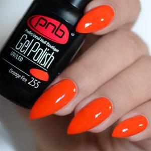 Гель-лак PNB Orange Fire 255 красно-оранжевый, неоновый