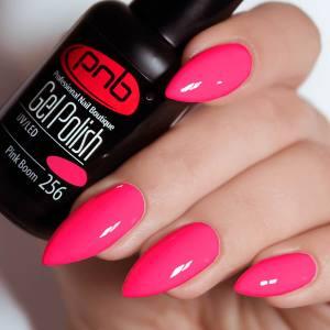 Гель-лак PNB Pink Boom 256 малиново-розовый, неоновый