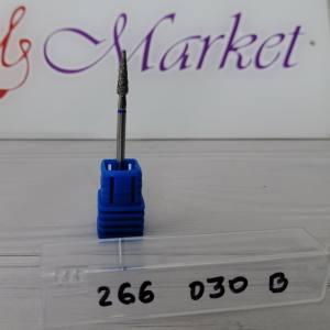 Фреза алмазная почка закругленная,длинная 266-030B диаметр 3мм, синяя