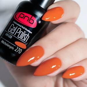 Гель-лак PNB Michelangelo 270 8мл яркий красновато-оранжевый