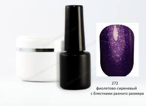 Гель-лак на розлив 5г №272 фиолетово-сиреневый с блестками разного размера
