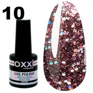 Гель-лак Oxxi STAR GEL №010 - шоколадно-коричневый, с блестками и слюдой, 8 мл