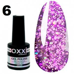 Гель-лак Oxxi STAR GEL №006 - фиолетовый, с блестками и слюдой, 8 мл