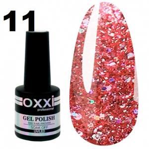 Гель-лак Oxxi STAR GEL №011 - персиково-розовый, с блестками и слюдой, 8 мл