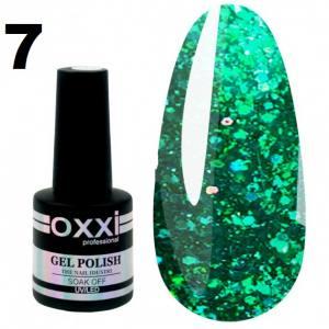 Гель-лак Oxxi STAR GEL №007 - зеленый, с блестками и слюдой, 8 мл