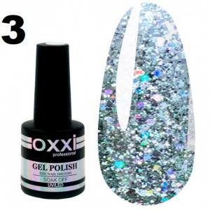 Гель-лак Oxxi STAR GEL №003 - серебристый, с блестками и слюдой, 8 мл