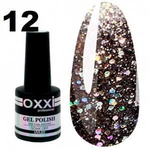 Гель-лак Oxxi STAR GEL №012 - серебристо-черный, с блестками и слюдой, 8 мл