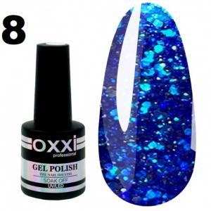 Гель-лак Oxxi STAR GEL №008 - синий, с блестками и слюдой, 8 мл