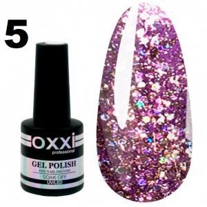Гель-лак Oxxi STAR GEL №005 - сиреневый, с блестками и слюдой, 8 мл