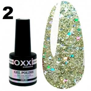 Гель-лак Oxxi STAR GEL №002 - светлый золотистый, с блестками и слюдой, 8 мл