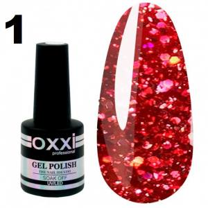 Гель-лак Oxxi STAR GEL №001 - гранатовый красный, с блестками и слюдой, 8 мл