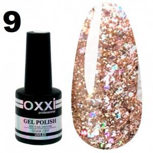 Гель-лак Oxxi STAR GEL №009 - светлый золотисто-коричневый, с блестками и слюдой, 8 мл