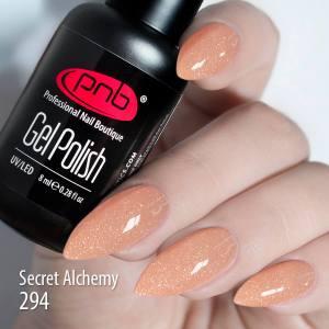 Гель-лак PNB 294 Secret Alchemy 8мл бежево-персиковый микроблеск