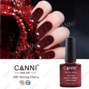 Гель-лак для ногтей Canni №209 вишневый с мелкими красными блестками и микроблеском