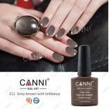 Гель-лак Canni №211 серо-коричневый с золотистым микробеском