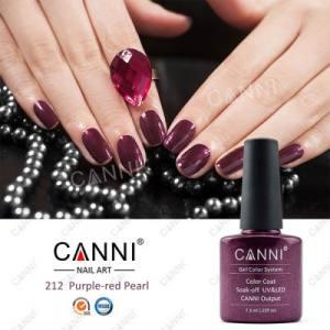Гель-лак для ногтей Canni №212 винный с микроблеском