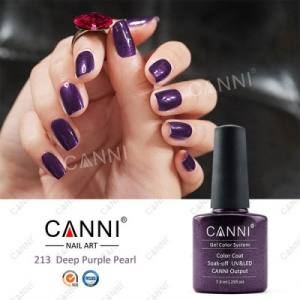 Гель-лак для ногтей Canni №213 глубокий фиолетовый с микроблеском