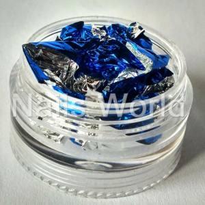 Фольга жатая в банке серебро-синяя
