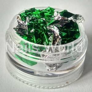 Фольга жатая в банке серебро-зеленая